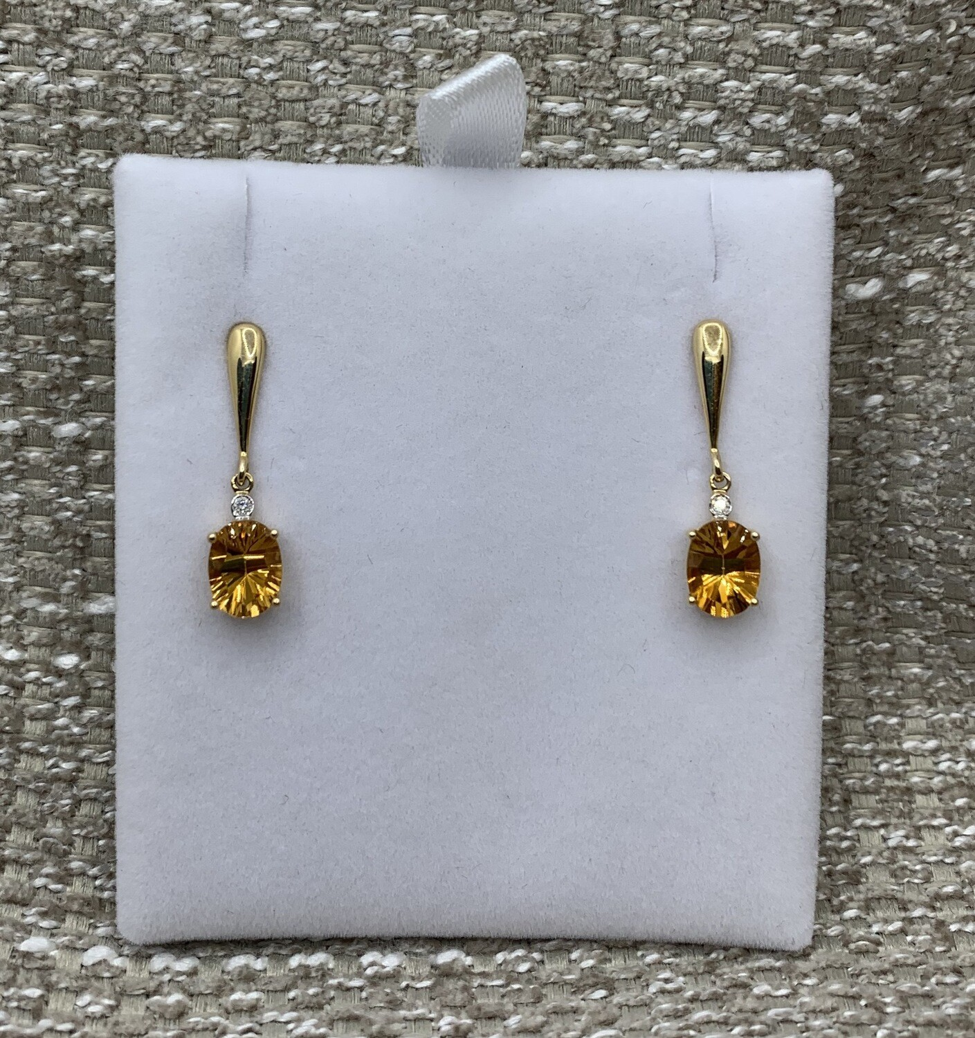 Citrine With Diamond Accent Drop Post Earrings