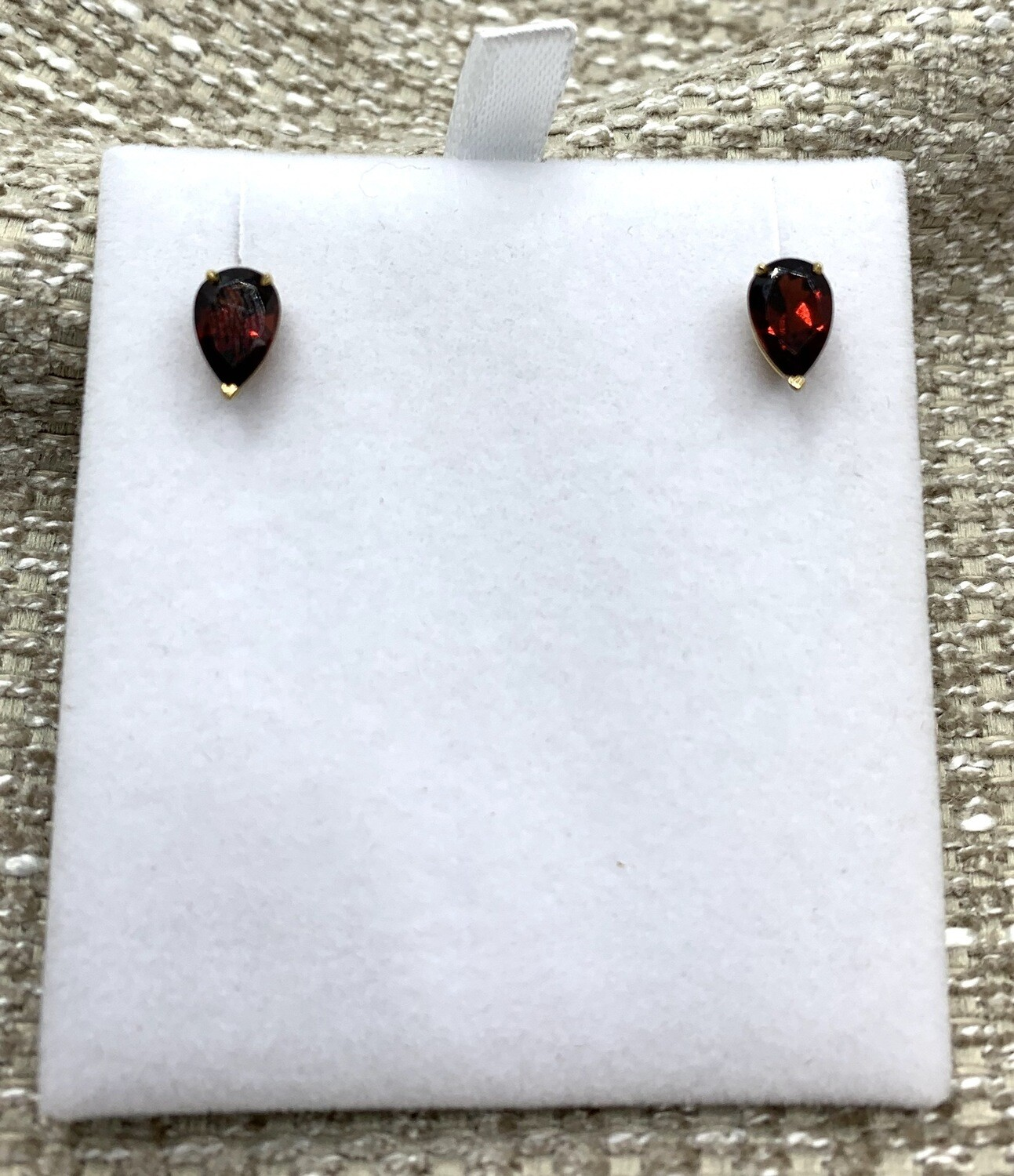 Pear Shaped Garnet Post Earrings