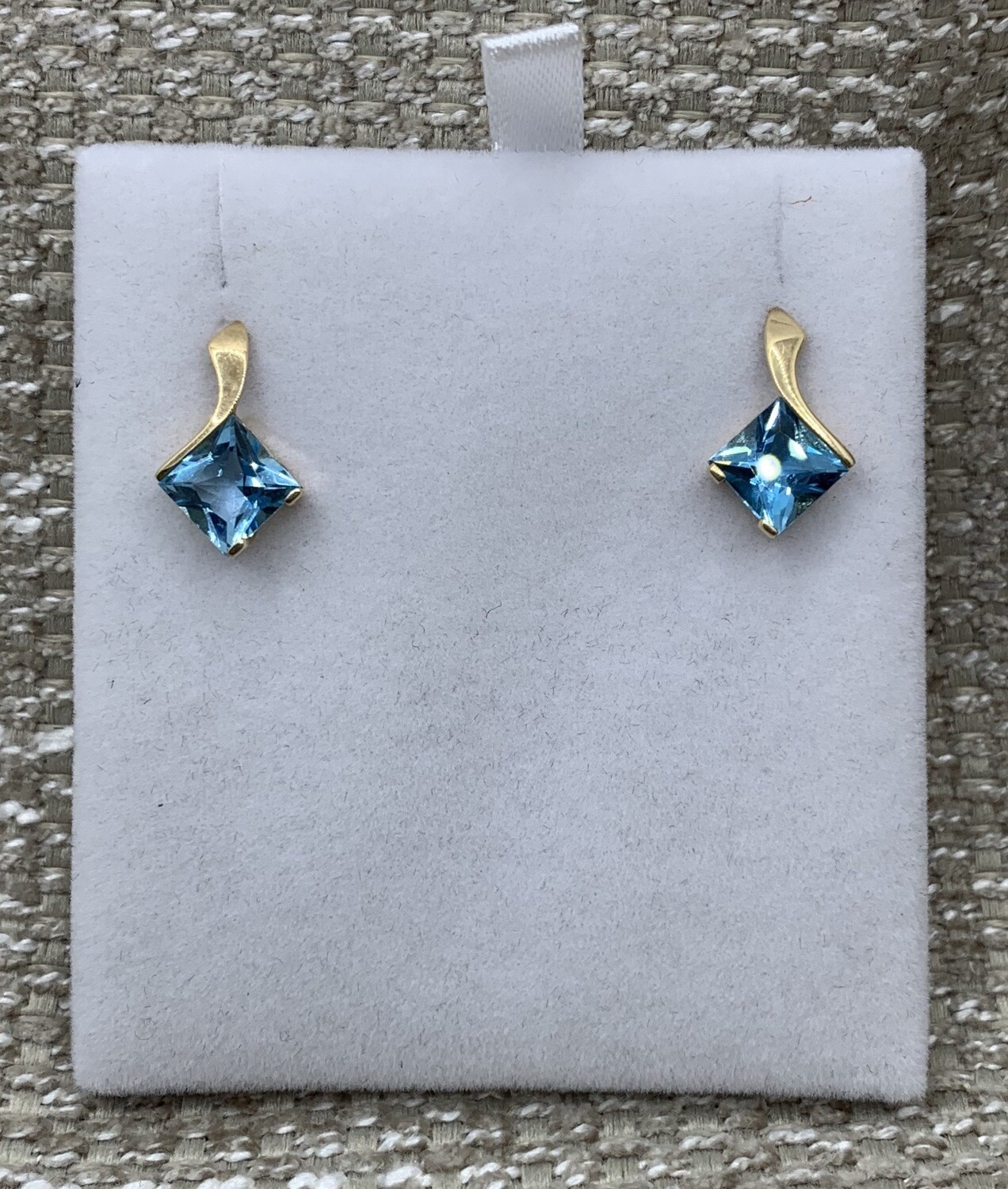 Genuine Blue Topaz Drop Post Earrings 4 Ct Total Weight Yellow Gold