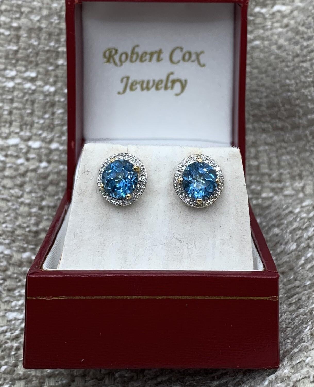 Blue Topaz With Diamond Halo Post Earrings