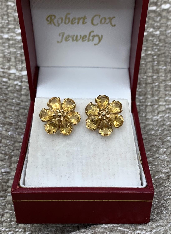 Citrine Flower Post Earrings