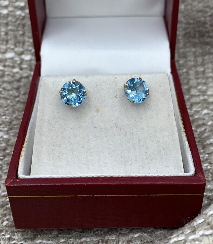 Blue Topaz Post Earrings