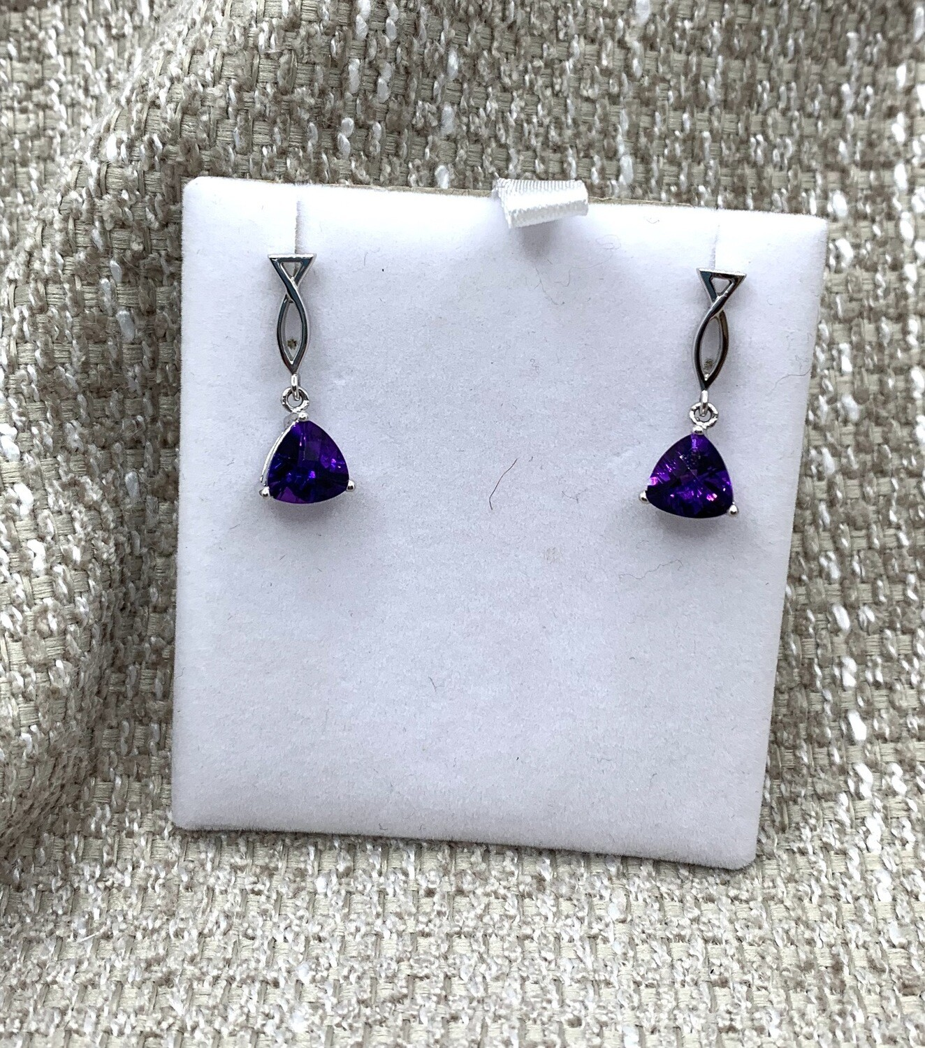 Amethyst Drop Post Earrings