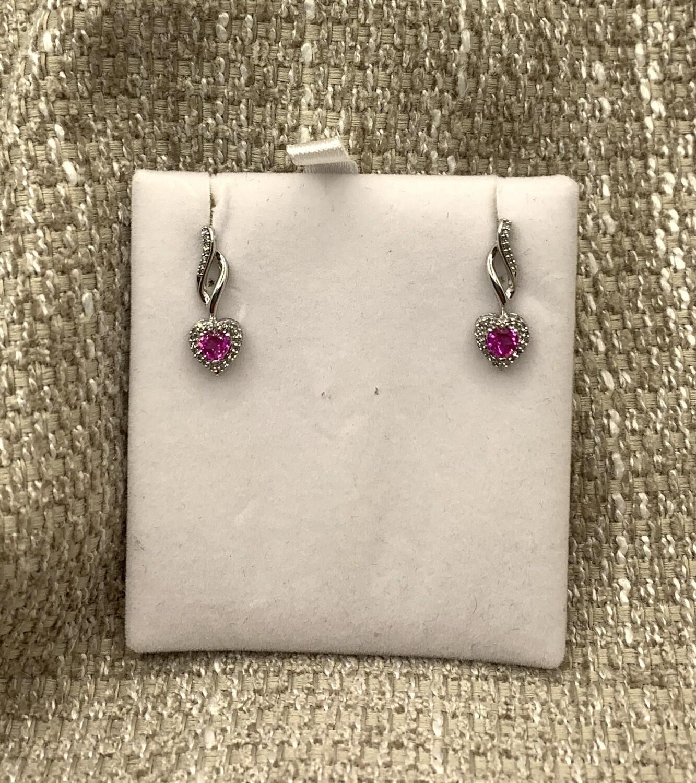 Pink Sapphire Drop Post Earrings