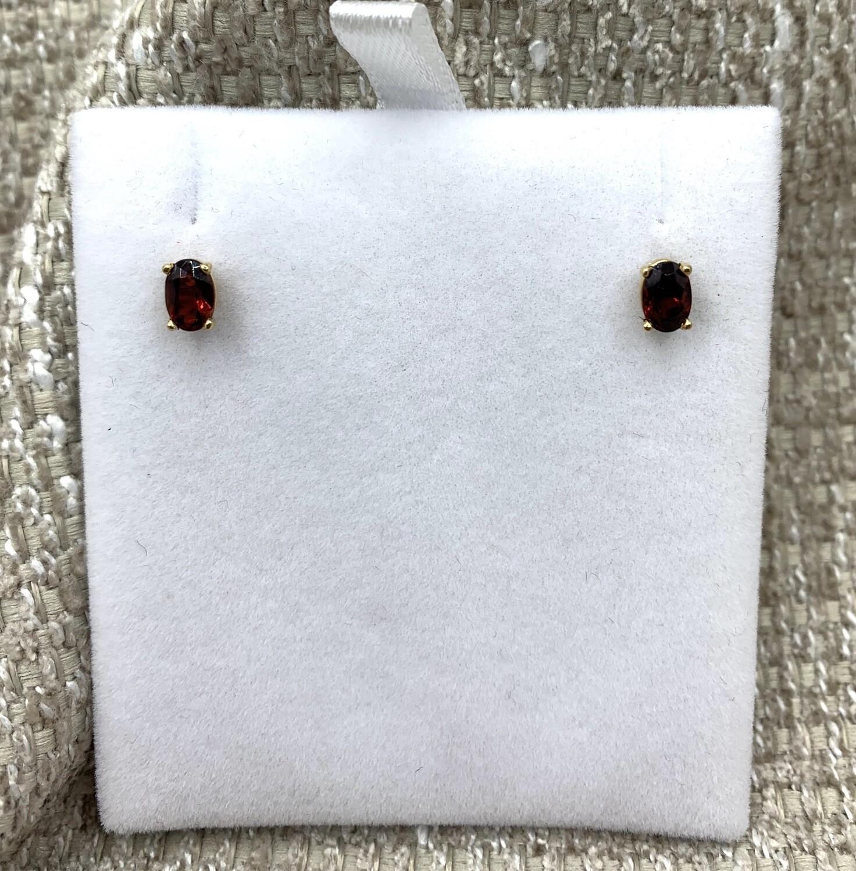 Oval Garnet Post Earrings