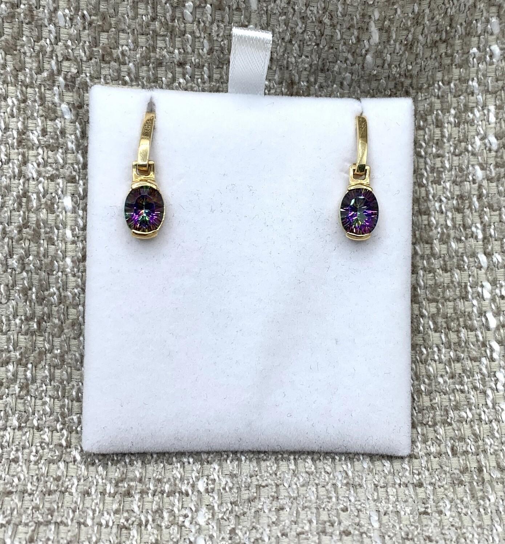 Mystic Topaz Hanging Post Earrings