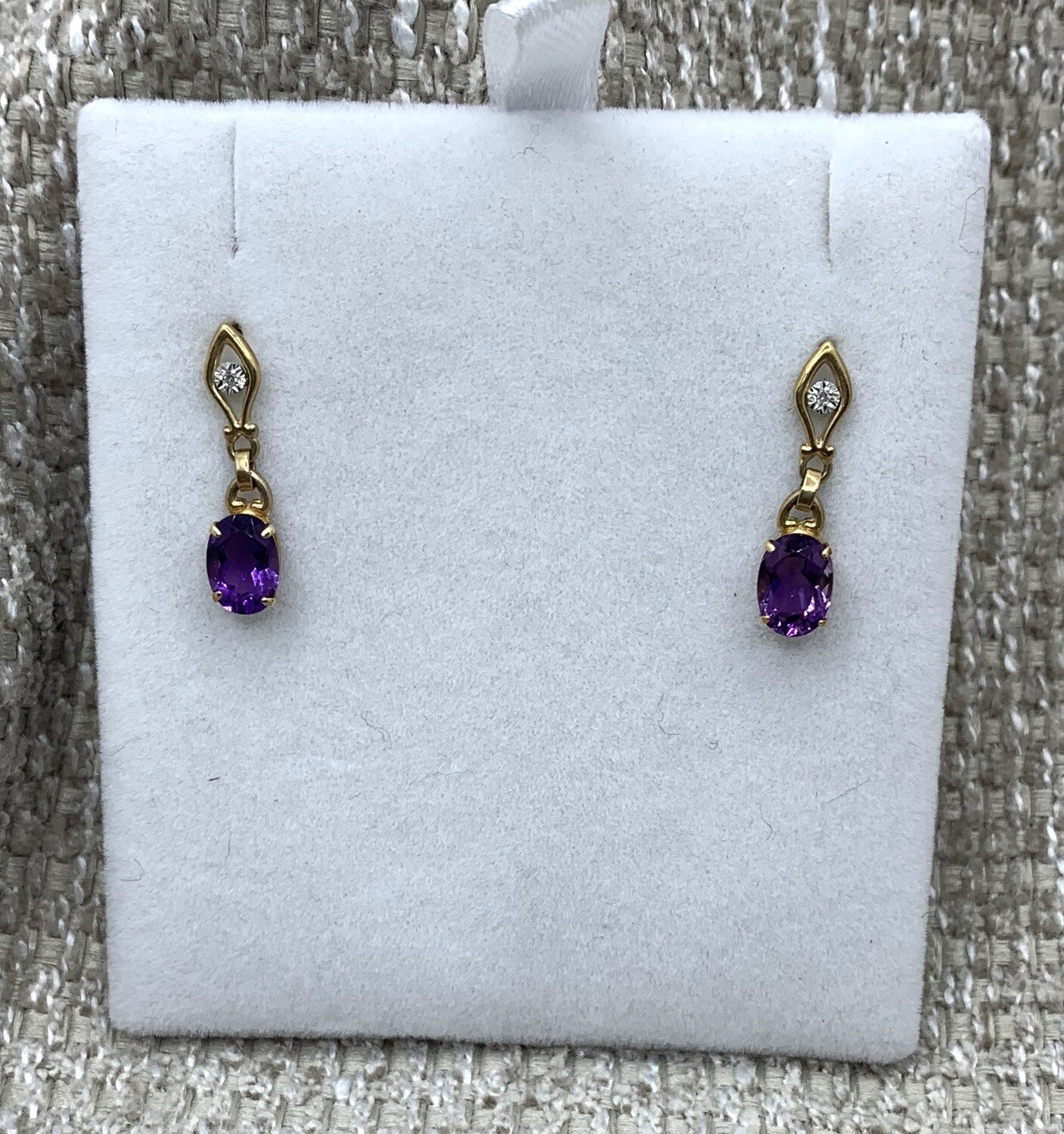 Amethyst Drop Post Diamond Accent Earrings