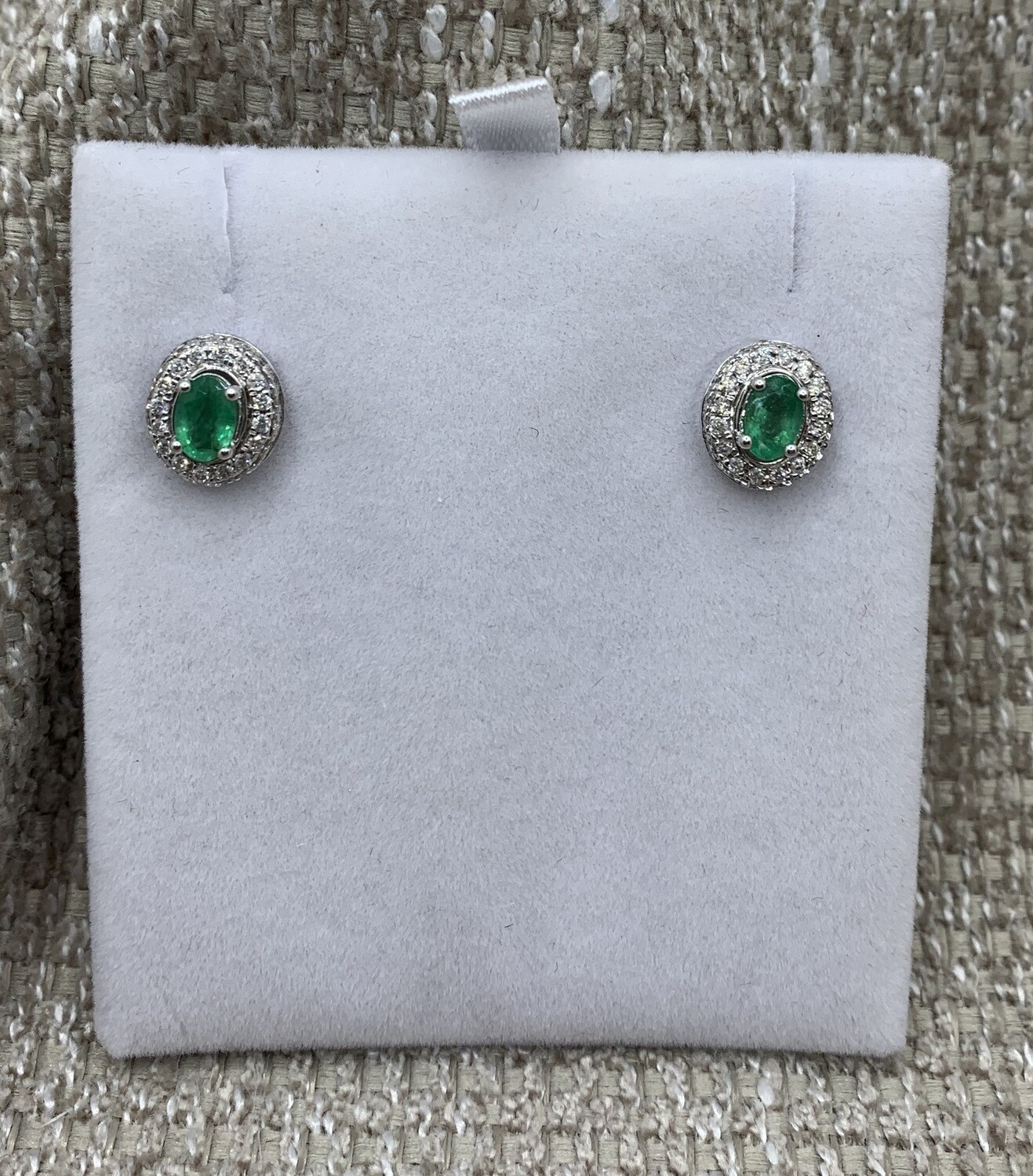 Oval Emerald With Diamond Halo Post Earrings