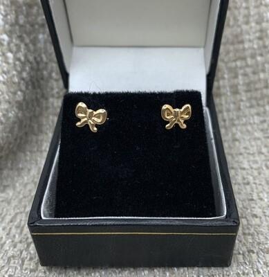 14k Gold Bows Post Earrings