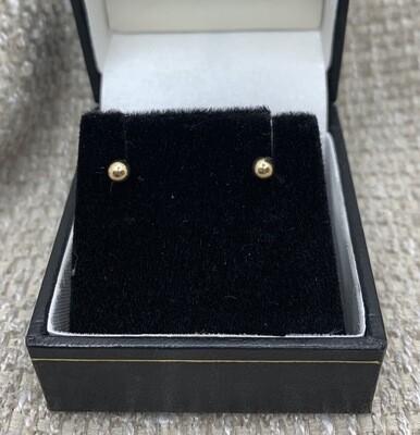 3mm Yellow Gold Ball Post Earrings