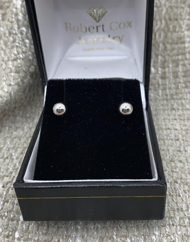 5mm 14k White Gold Ball Post Earrings