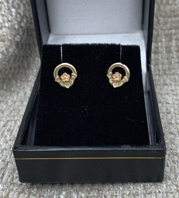 14k Gold Claddagh Rose Gold Accent Post Earrings