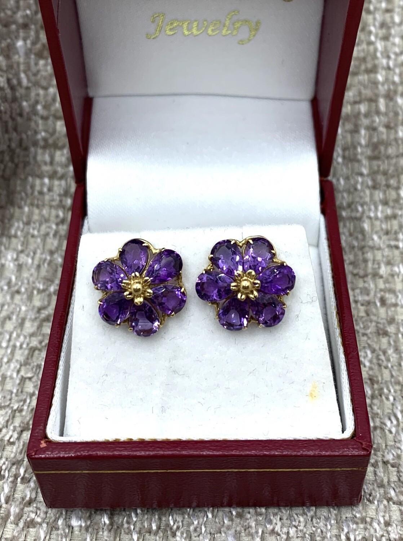 Amethyst Flower Post Earrings