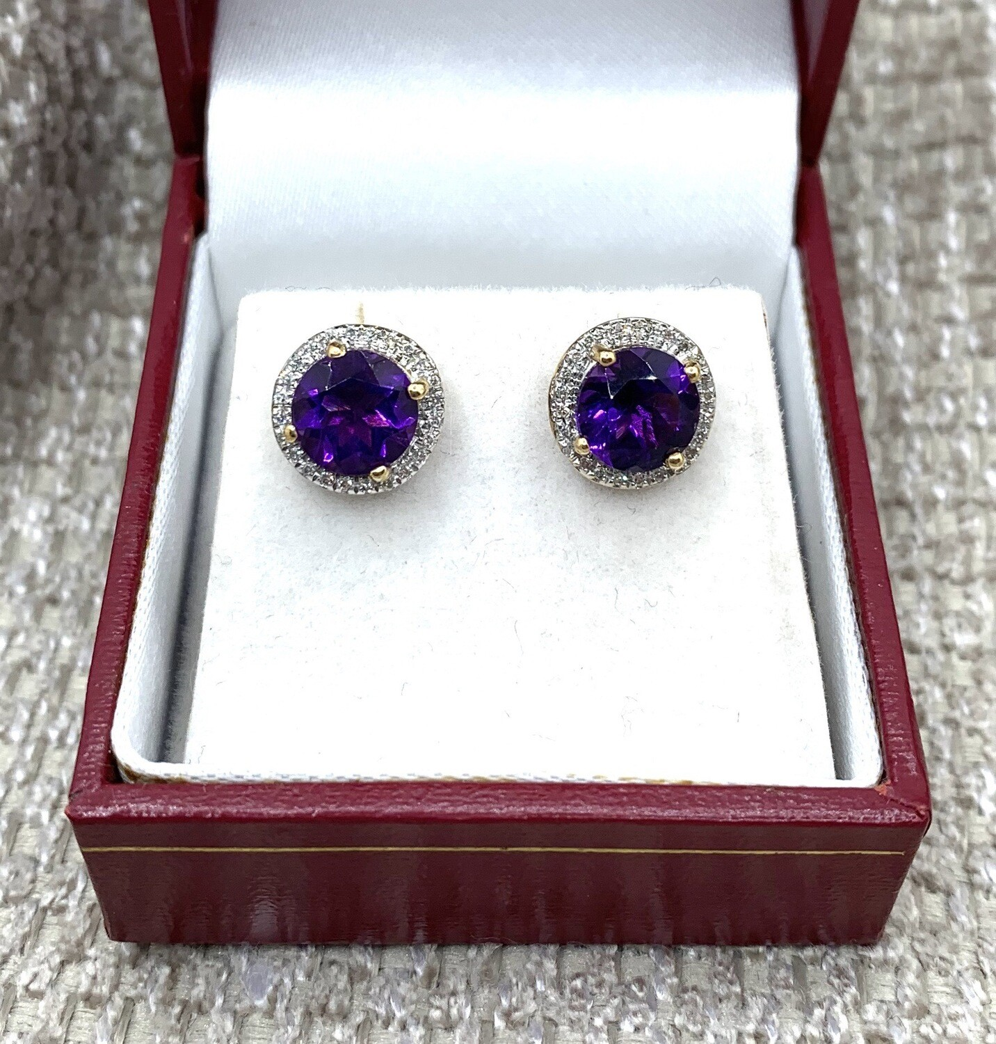 Amethyst With Diamond Halo Post Earrings