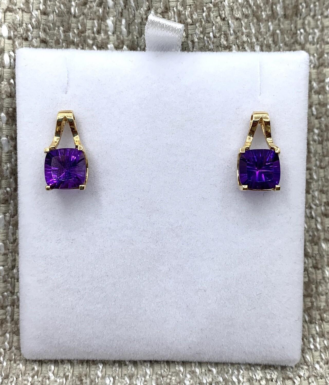 Amethyst Gold Split Drop Post Earrings