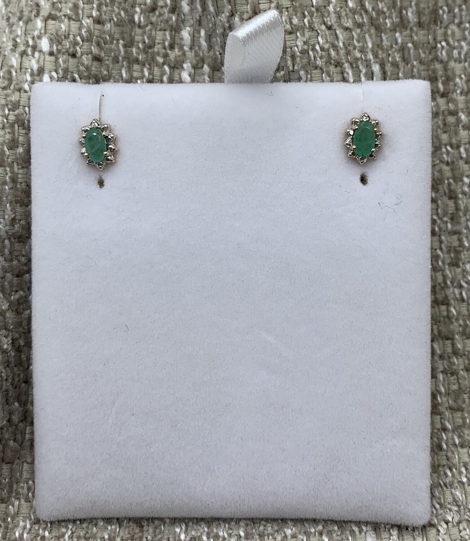 Oval Emerald Post Earrings