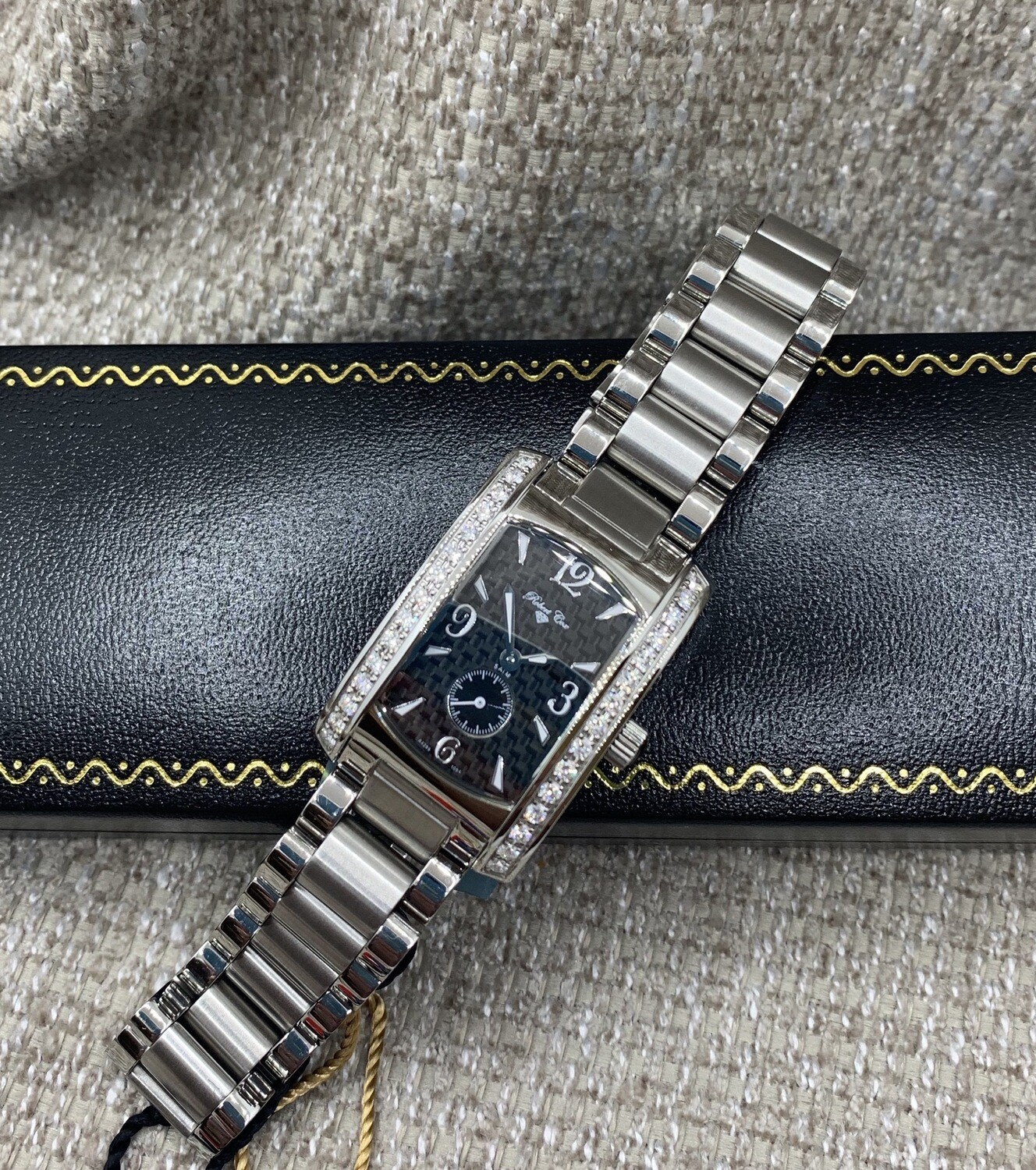 Ladies Stainless Diamond Accent Watch With Genuine Sapphire Crystal