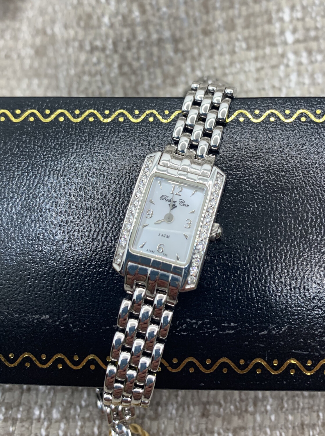 Solid 14k White Gold Mother Of Pearl Face Sapphire Crystal Ladies Watch