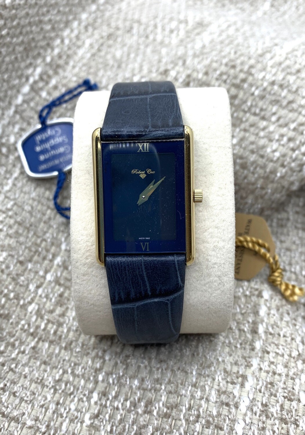 Ladies Robert Cox Navy And Stainless With Leather Band Watch