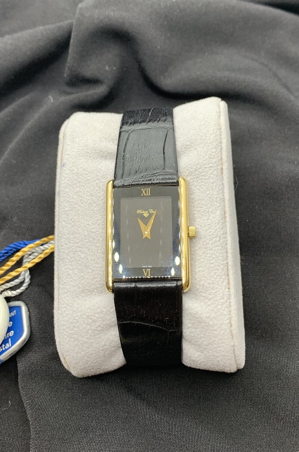 Ladies Robert Cox Black With Goldtone Case And Black Leather Band Watch