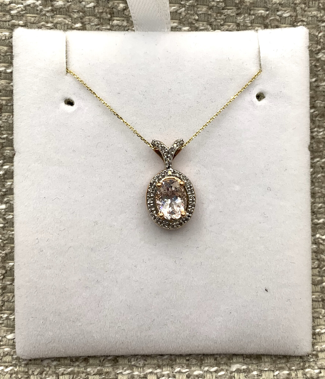 Stunning Morganite With Diamond Halo And Accents Pendant