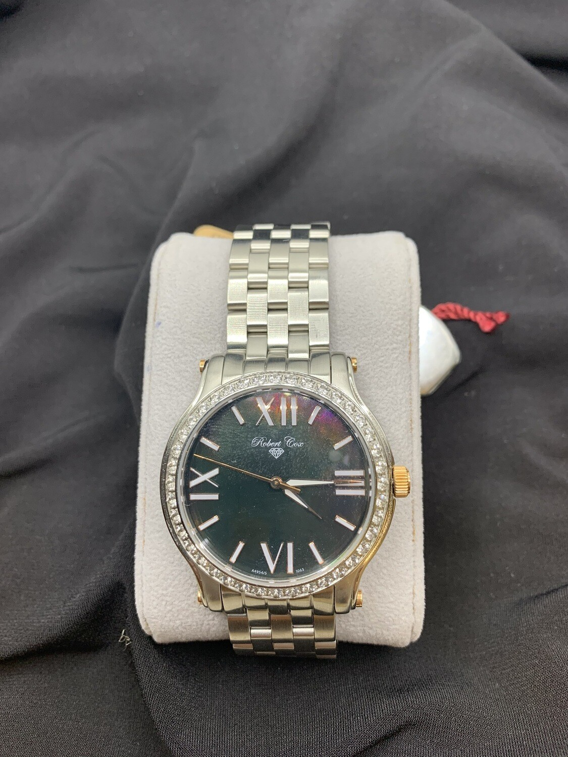 Men's Brushed Stainless Robert Cox Watch With Topaz Accents