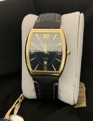 Robert Cox Men's Black Goldtone Watch With Stitched Leather Band