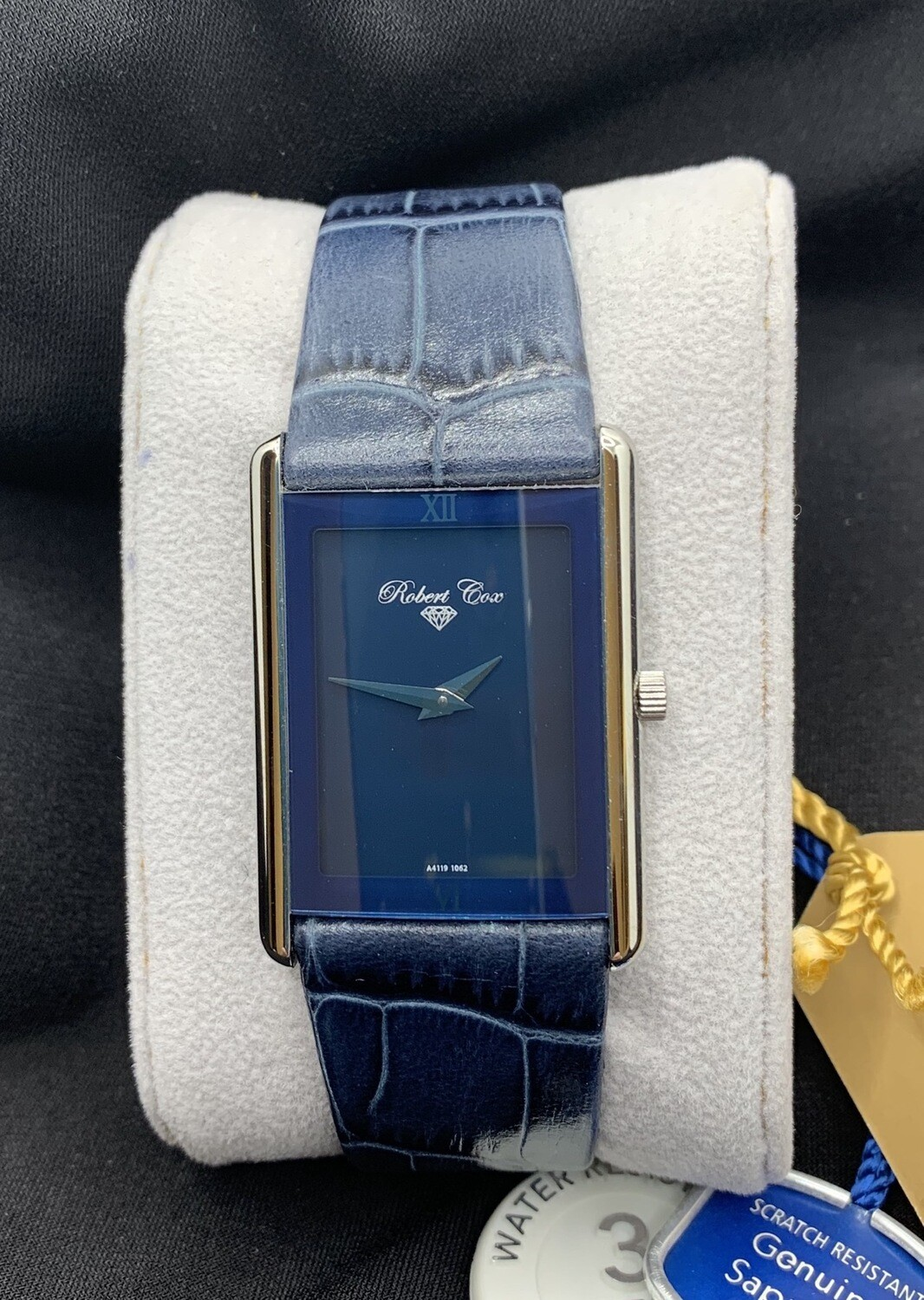 Blue Stainless Robert Cox Watch With Blue Leather Band