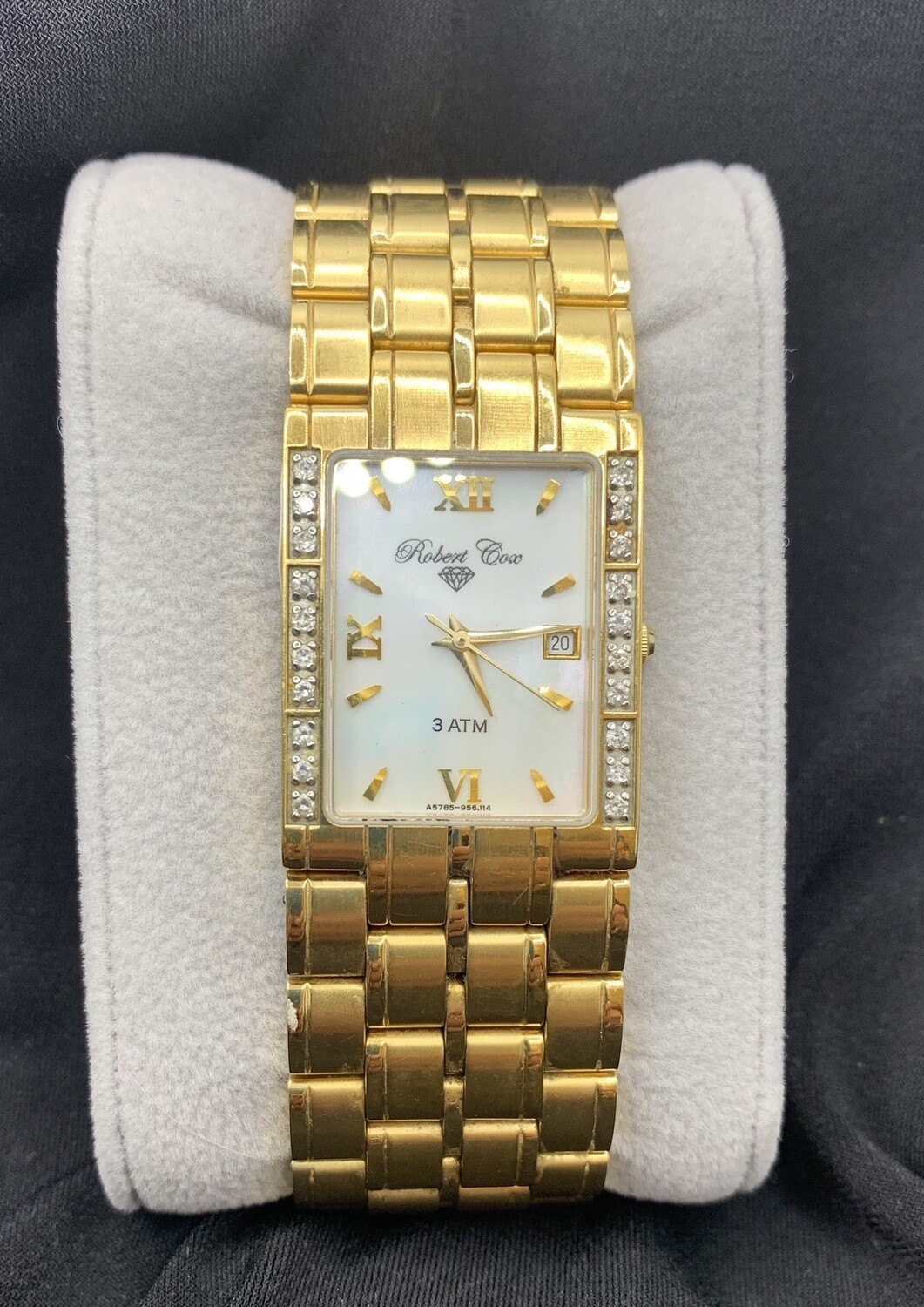 Robert Cox Mother Of Pearl Goldtone With White Topaz Accents Watch