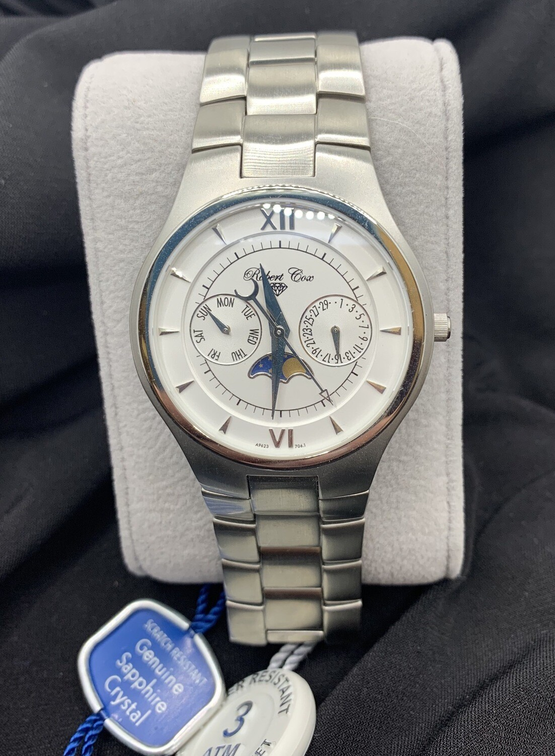 Men's Robert Cox Multi Function Moon Phase Brushed Stainless Watch