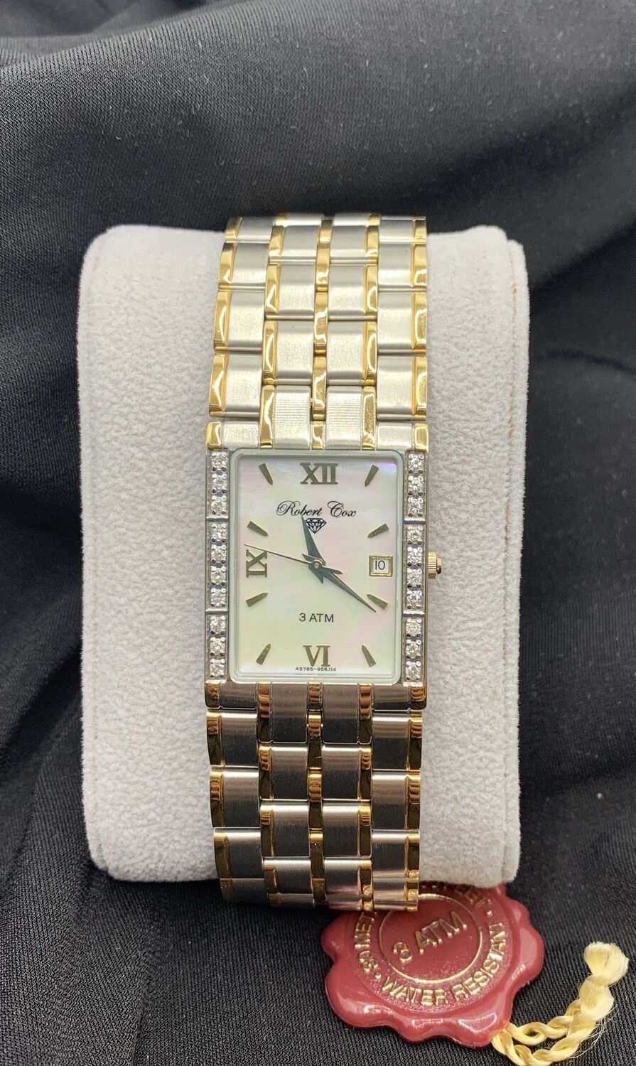 Brushed Two Tone Mother Of Pearl Face White Topaz Accent Robert Cox Watch