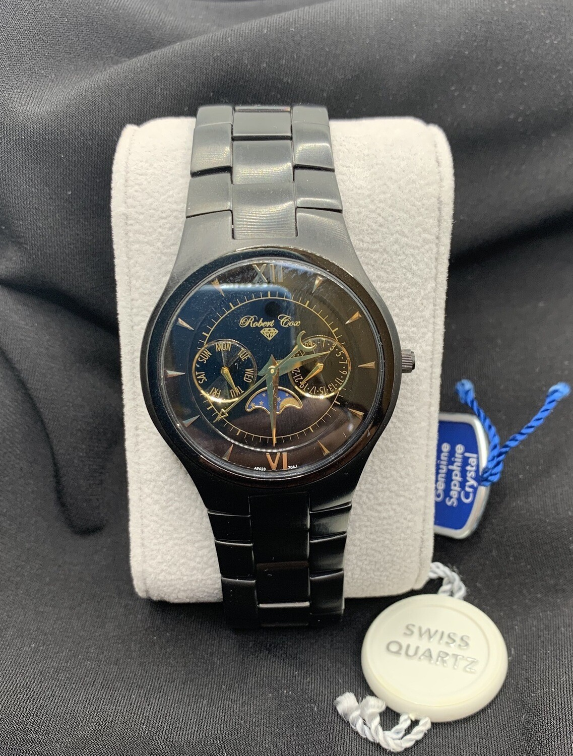 Black Matte Robert Cox Multifunction Moon phase Stainless Watch