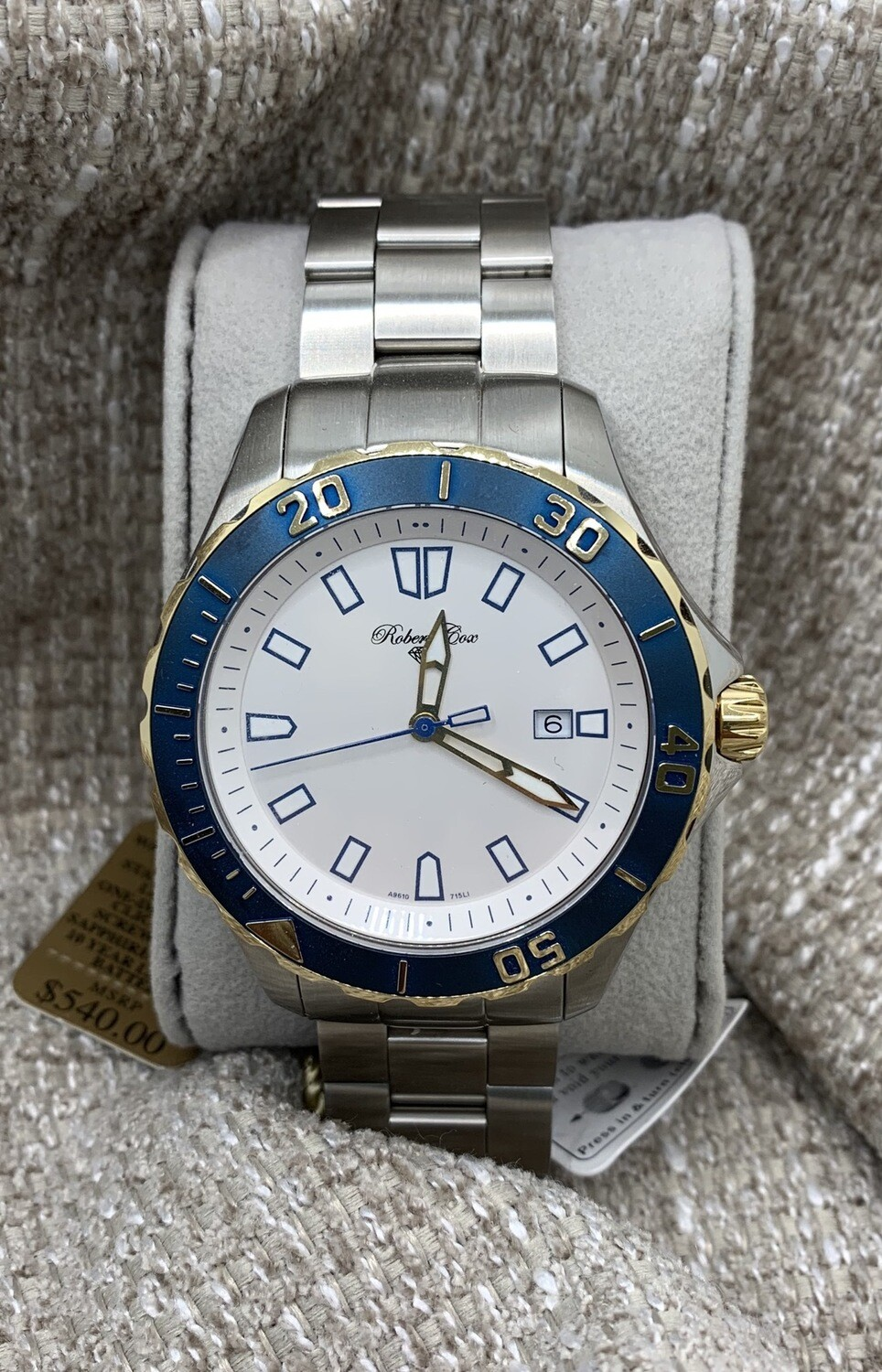 Robert Cox Brushed Finish Blue Accent Watch With Luminous Bezel