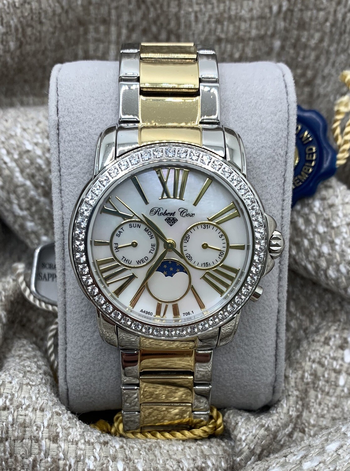 Two Tone Men's Robert Cox Wrist Watch Mother Of Pearl Dial With White Topaz Accents