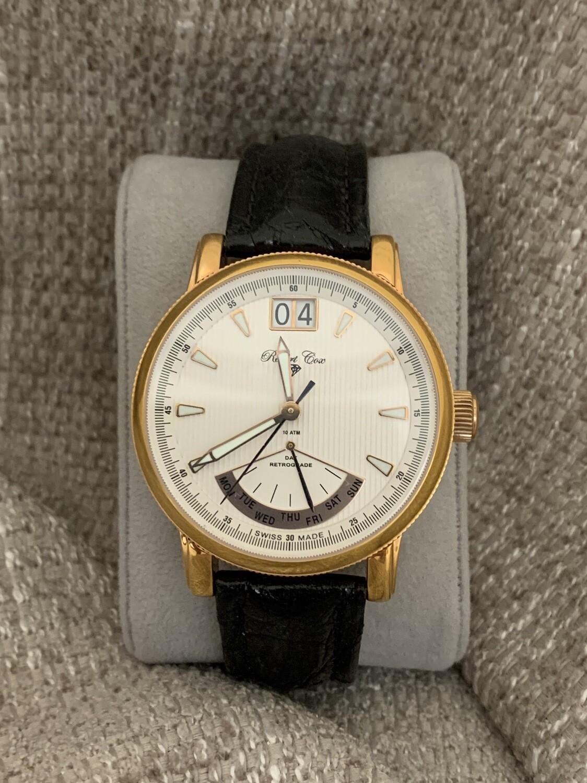 Robert Cox Rose Gold Calendar Watch With Crocodile Band