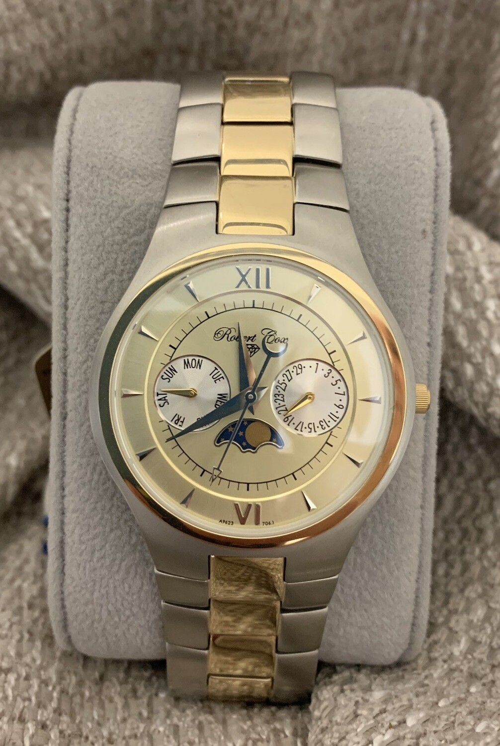 Men's Robert Cox Two Tone Brushed Multi function Moon phase Watch