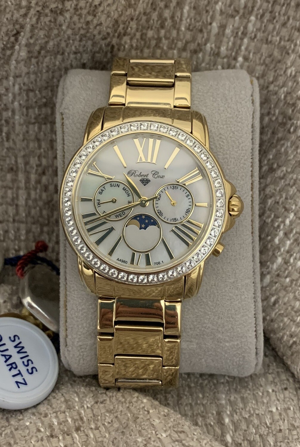 Robert Cox Mother Of Pearl Dial With White Topaz Accents Watch