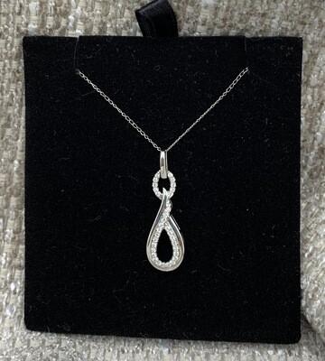 Double Loop Twisted Diamond Pendant