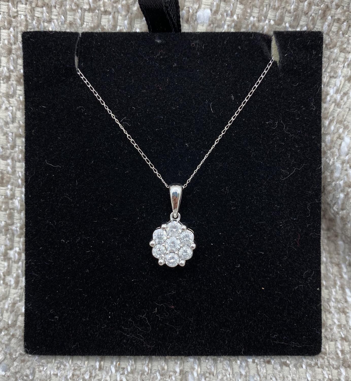 3/4 Ct Tw Flower Diamond Cluster Pendant