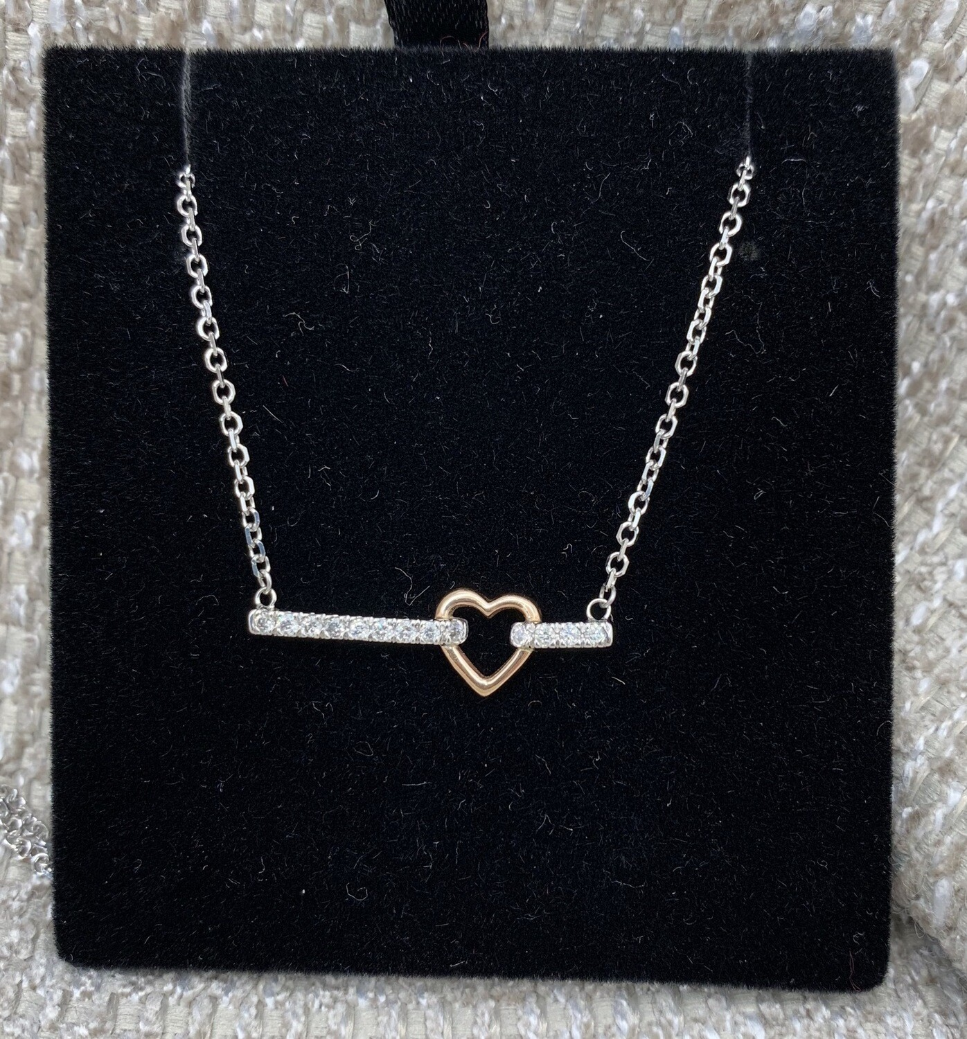 14kt Diamond Necklace With Rose Gold Accent Heart