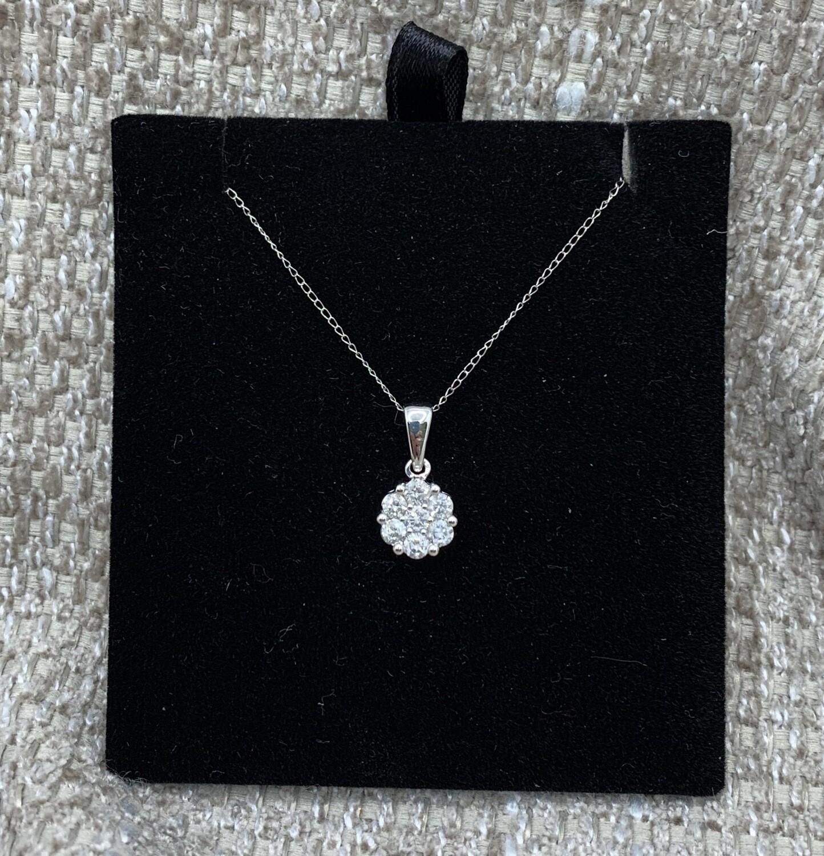 1/2 Ct Tw Diamond Flower Cluster Pendant