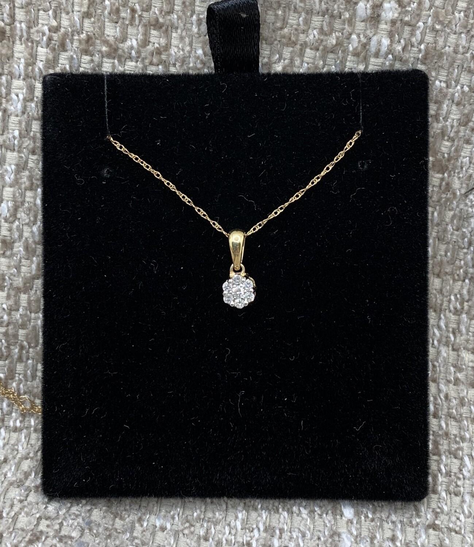 Diamond Flower Cluster Pendant