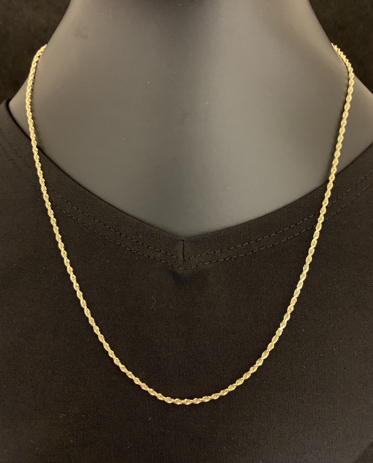 """18"""" 14Kt Yellow Gold Rope Chain"""