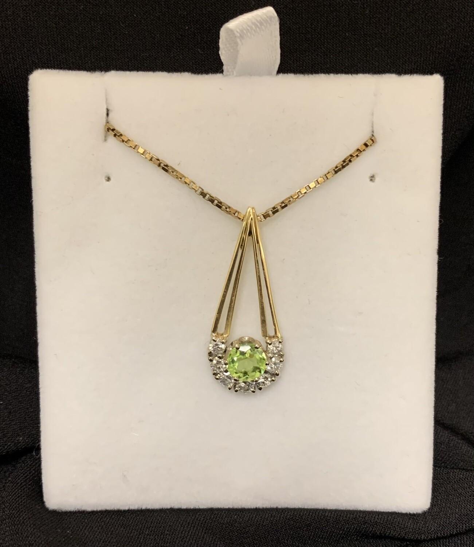 Unique 18kt Peridot Diamond Pendant