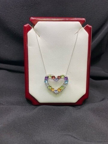 Colorful Gem Heart Shaped Pendant