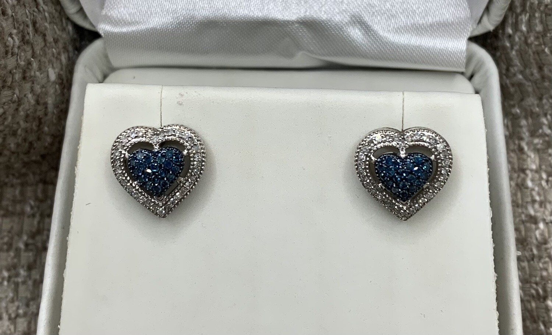 Blue And White Diamond Heart Earrings