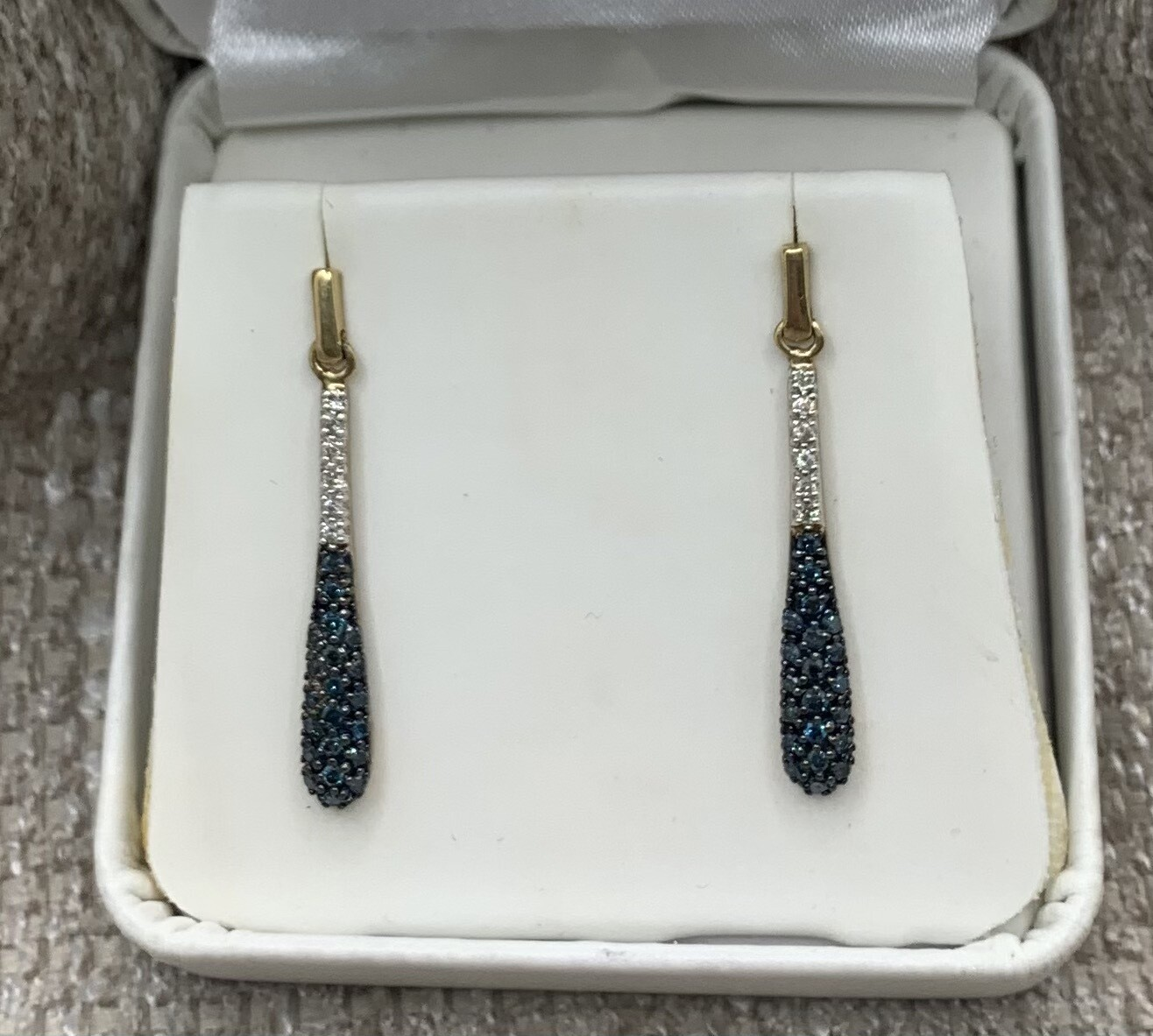 Blue And White Diamond Hanging Earrings