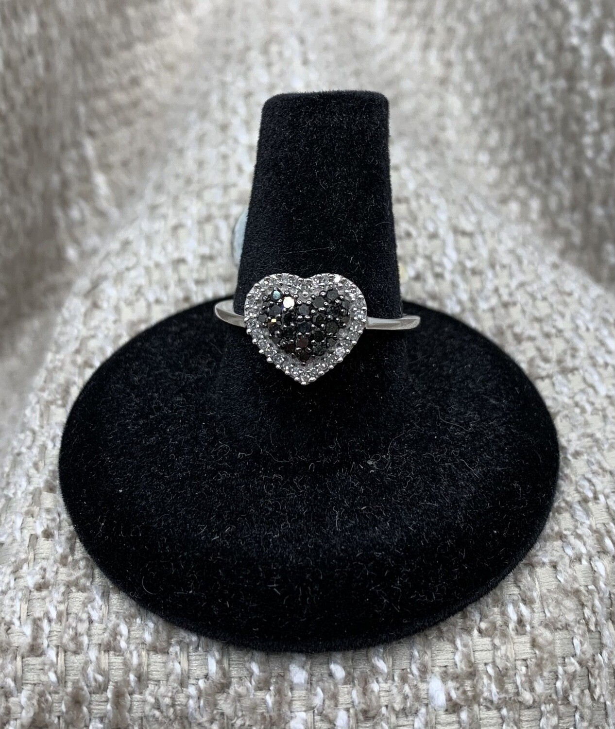 Heart Shaped Black And White Diamond Ring