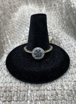 Blue And White Diamond Cluster Ring