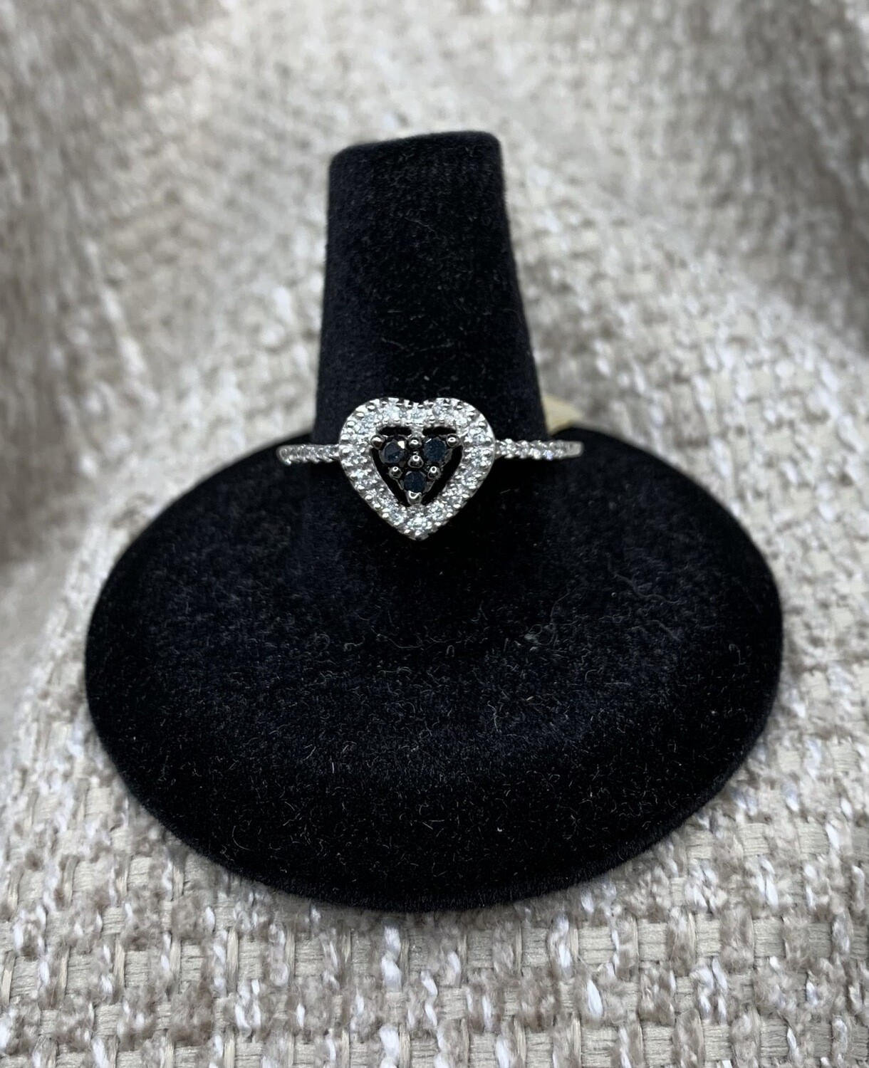Black And White 32 Pts Diamond Heart Ring